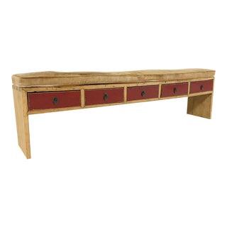 Rustch 5-Drawer Custom Palomino Cowhide Cushion Bench