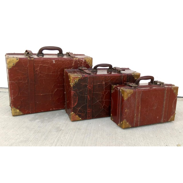 Weathered Ox Blood Nesting Trunks - Set of 3 - Image 3 of 11