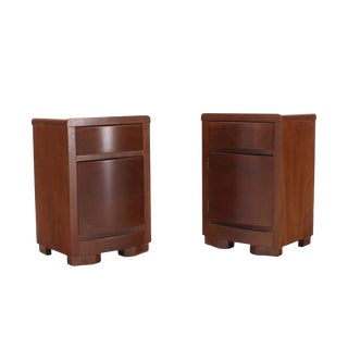 Pair of Art Deco Walnut End Tables Nightstands