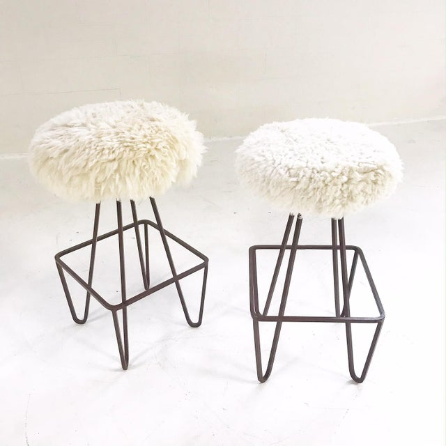 Vintage Weinding Stools Reupholstered in Brazilian Sheepskin - a Pair - Image 3 of 5