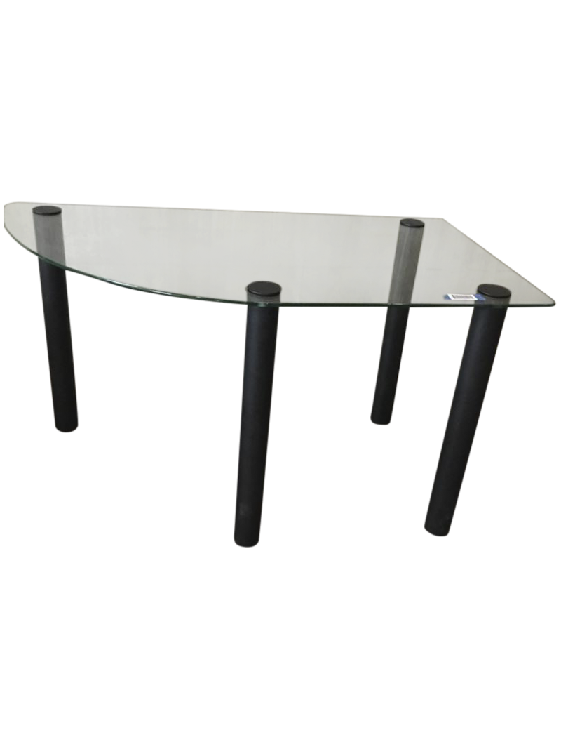 Contemporary Brushed Metal Glass Top Corner Table