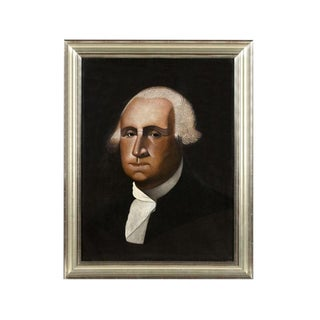 FOLK PAINTING OF GEORGE WASHINGTON BY MICHIGAN BARBER CYRUS T. FUERY, SIGNED AND DATED 1917 EXHIBITED AT THE ABBY ALDRIDGE ROCKEFELLER FOLK ART MUSEUM