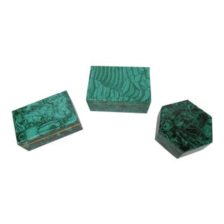 Collection of Russian Malachite Box with Brass