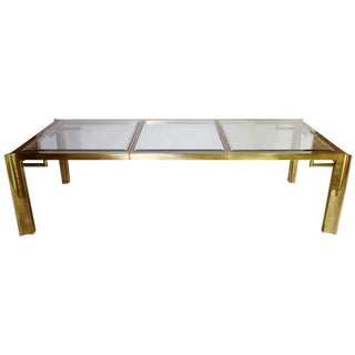 Mastercraft Expandable Brass & Glass Dining Table
