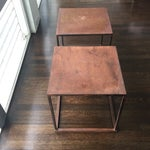 Image of Industrial Frame Square Side Tables - Pair