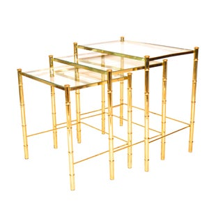 Brass Faux Bamboo Nesting Tables - Set of 3
