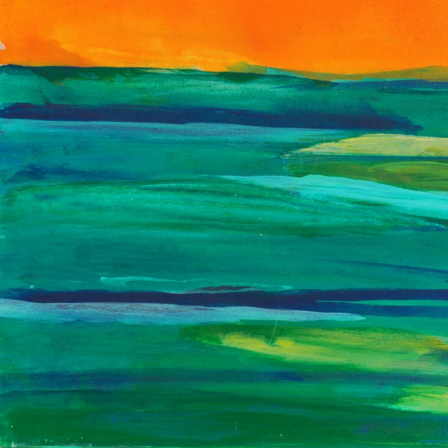 Coral & Teal Abstract Sunset by Glenn Lyons - Image 5 of 6