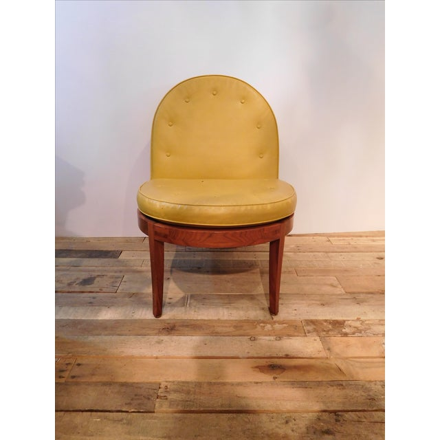 Image of Vintage Yellow Leather Clamshell Accent Chair