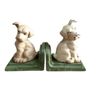 """Puppy Listening"" Cast Iron Bookends - A Pair"