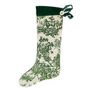 Vintage Green Toile Christmas Stocking