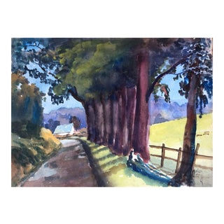 Pescadero Country Lane Watercolor Painting C.1940