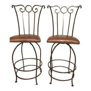 Wrought Iron Bar Stools - A Pair