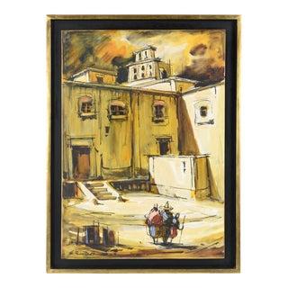E. Sanchez Traspatio Oil Painting