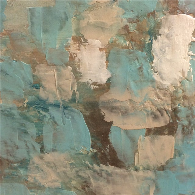 Raw Turquoise Acrylic & Plaster Abstract Painting - Image 3 of 9