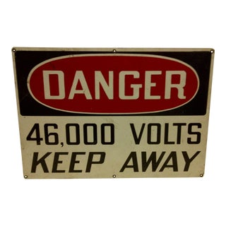 "Vintage Metal Safety Sign - ""Danger - 46,000 Volts - Keep Away"" - Circa 1930"