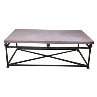 Quality Iron Base Coffee Table With Slate Top