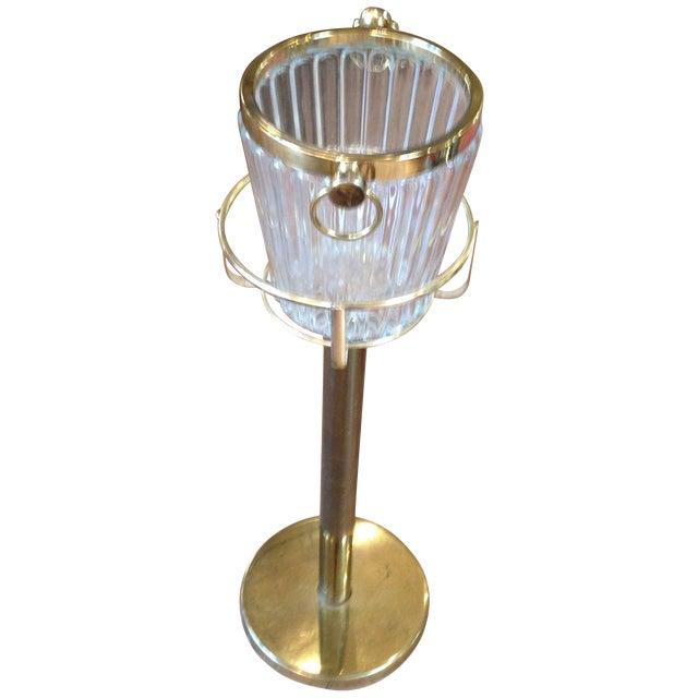 Brass Amp Glass Champagne Bucket On Stand Chairish