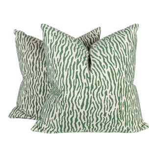 Green & Ivory Velvet Linen Zebra Pillows - A Pair