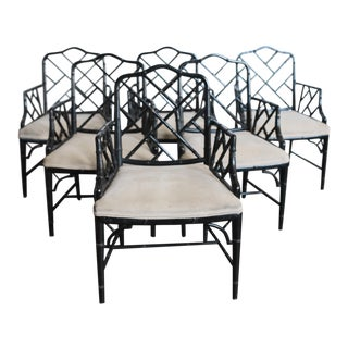 Black Chinese Chippendale Faux Bamboo Chairs – Set of 6