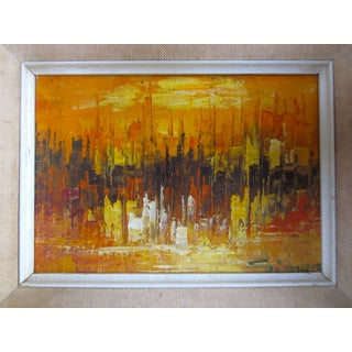 Mid Century Abstract Cityscape Painting