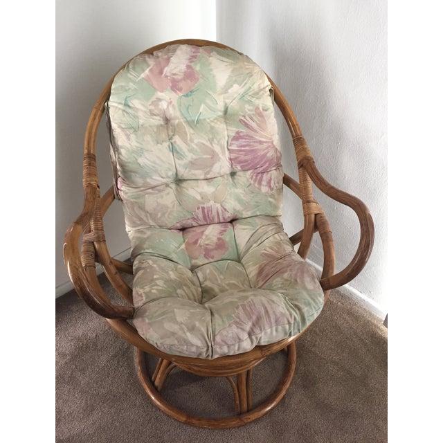 Vintage Rattan Swivel Chair - Image 3 of 10