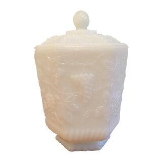 Fire King White Milk Glass Hexagon Lidded Jar