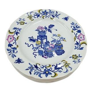 Vintage English Spode Blue Bowpot Porcelain Plates - 6