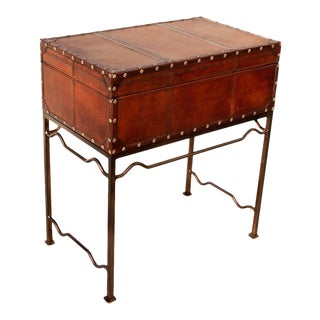 Sarreid Ltd Studded Leather Box on Stand