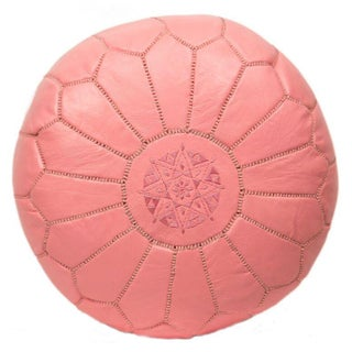 Embroidered Leather Pouf in Pink (Stuffed)