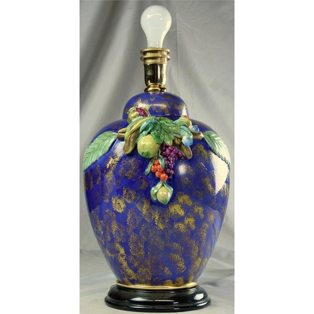 Italian Majolica Hand-Painted Blue Table Lamp - Image 3 of 8