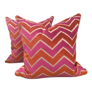 Pair of Brunschwig & Fils Pink Orange Velvet/Pollack Persimmon Silk Velvet Pillows