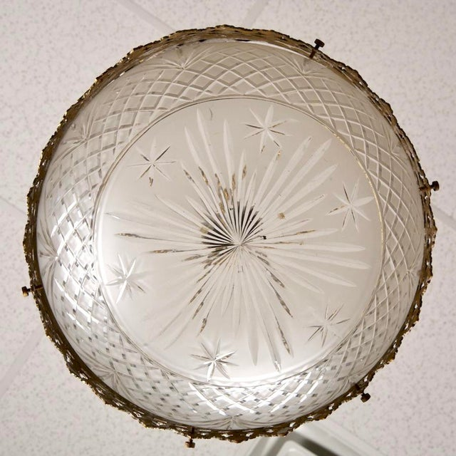 Gilt Bronze and Etched Glass Dome Hanging Fixture - Image 5 of 7