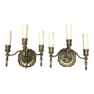 Antique Nickle Finish Wall Sconces - Set of 3