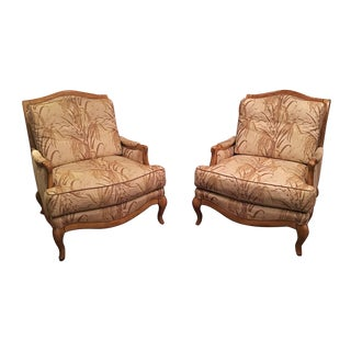 Crafted Swaim Wood Fabric Down Filled Club Chairs - A Pair