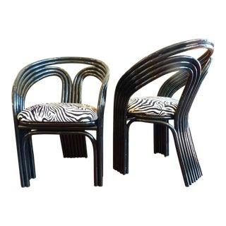 High Gloss & Zebra Print Club Chairs - Pair
