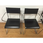 Image of Chrome and Vinyl Stacking Chairs - Set of 4