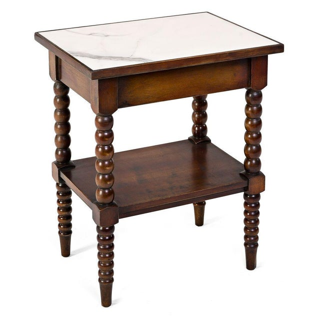 Image of Sarreid LTD Calacatta Marble Top Side Table