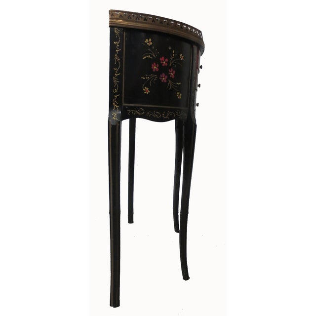 Mid-Century Black Demilune Side Tables - A Pair - Image 4 of 8