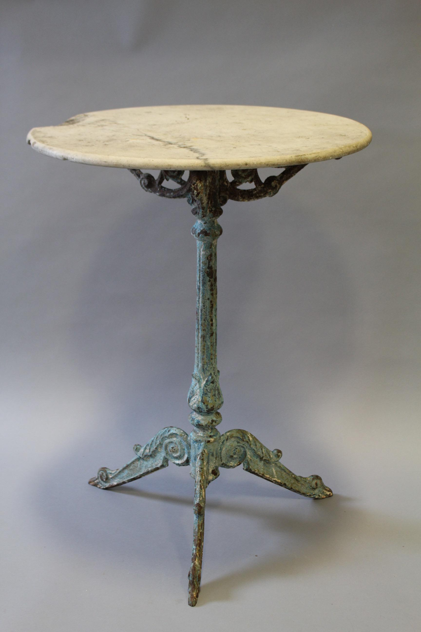 French Round Marble U0026 Cast Iron Bistro Table   Image 2 ...