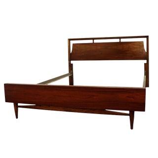 Mid-Century Danish Modern Walnut Parque Full Size Bed Frame