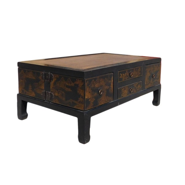 Chinese Golden Swing Drawer Coffee Table Chairish