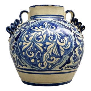 Blue & White Hand Painted Mexican Pottery Vase