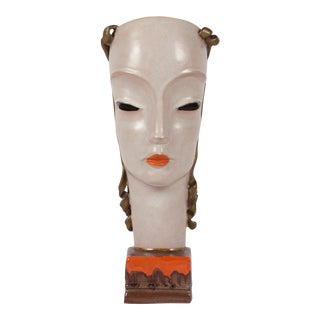 Art Deco Style Ceramic Female Bust by Goldscheider, Austrian late 1920s.