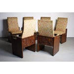 Image of Lane Brutalist Walnut Dining Chairs - Set of 6