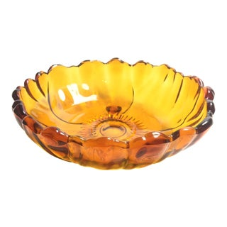 Colony Glass Co Mid-Century Amber Floral Bowl