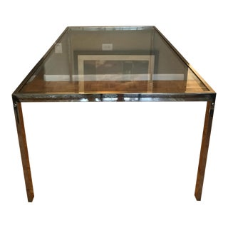 Milo Baughman Glass & Chrome Dining Table