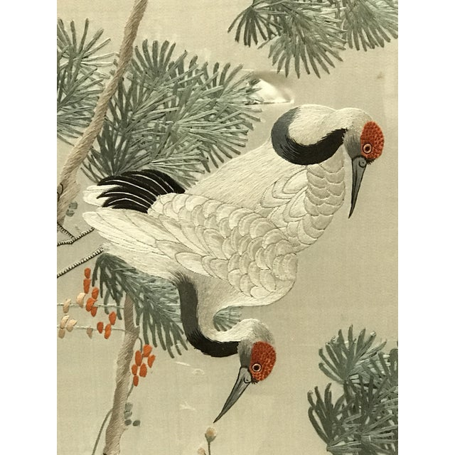 Antique Asian Chinoiserie Silk Embroidered Cranes Chairish