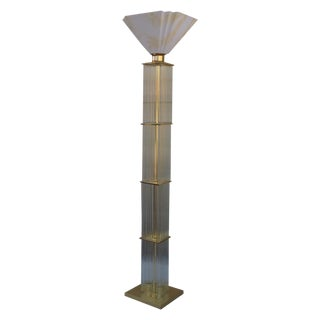 Modernist Brass and Glass Floor Lamp