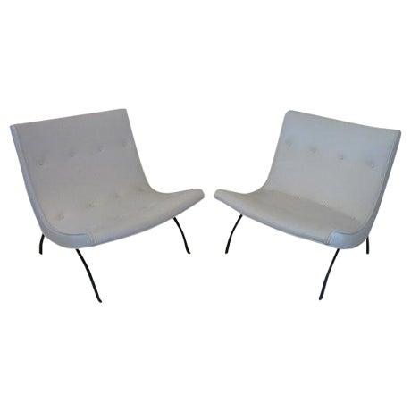 Milo Baughman Vintage White Scoop Chairs A Pair Chairish