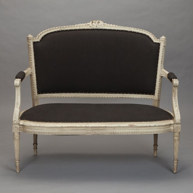 French Cream Painted Settee, Dark Gray Upholstery - Image 2 of 7